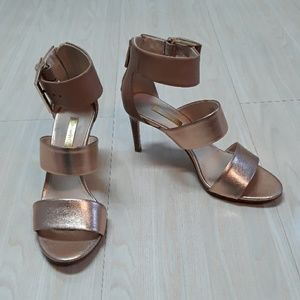 Louise et Cie rose gold strappy heels shoes
